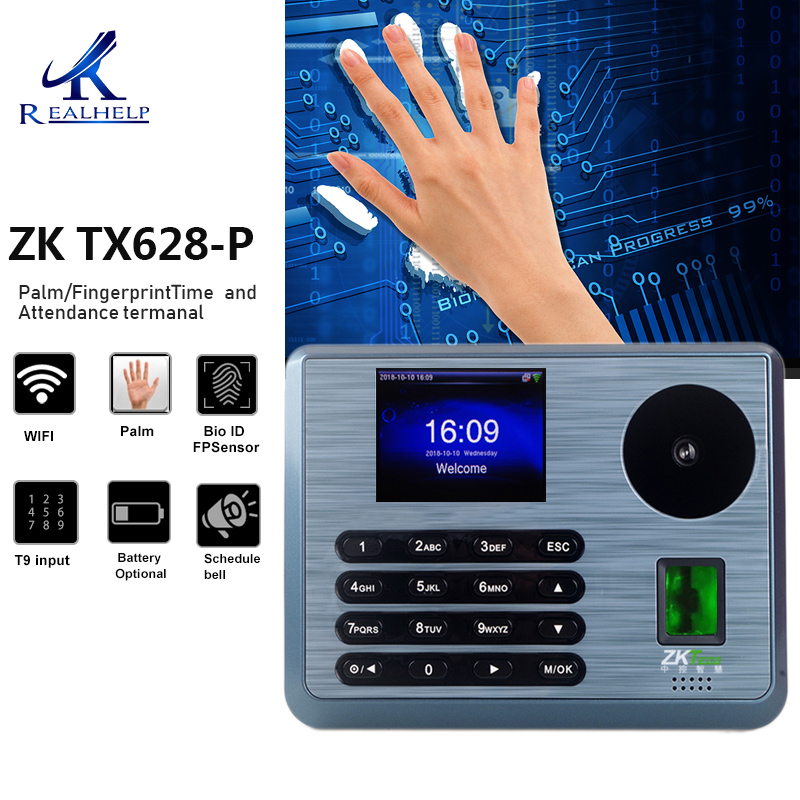 Zkteco TX628P WIFI Time Attendance Software ZKTime 5 0 Palm Readers TCP/IP  Palm Recognition
