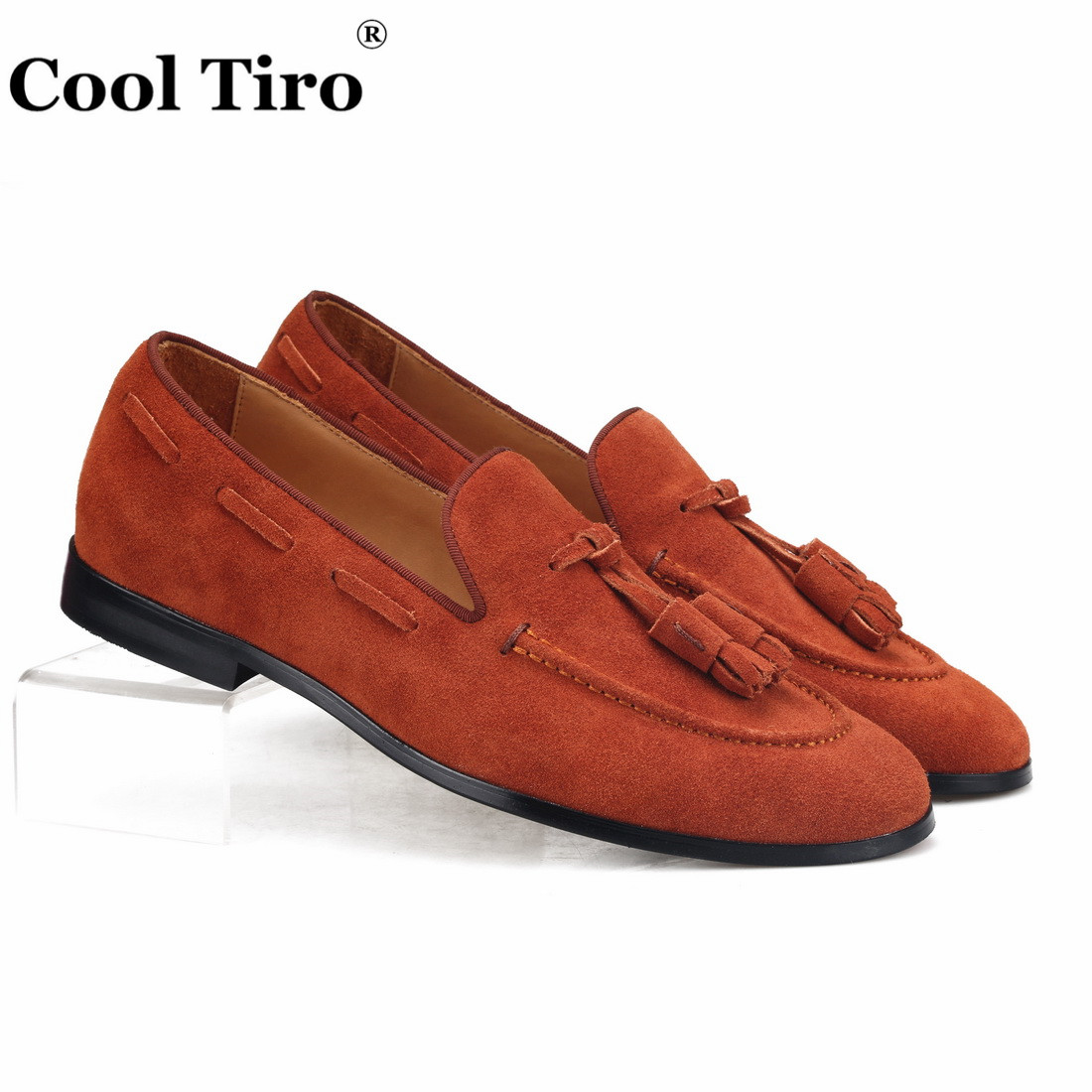 Cool Tiro Brown Suede Loafers Tassels Men s Moccasins Slippers Man Flats Slip on Casual Shoes