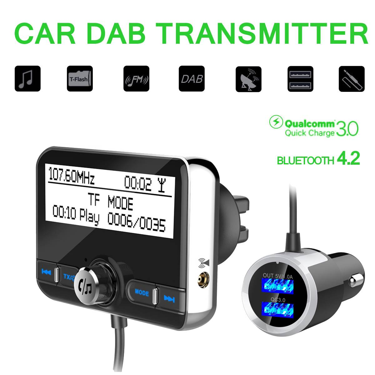 Multi function Car DAB Radio Receiver Tuner USB Adapter bluetooth FM Transmitter Antenna LCD Digital Radio Handsfree Calling