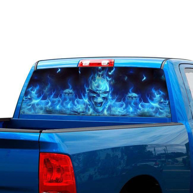 Truck Stickers For Back Window >> Flaming Skull Rear Window Tint Graphic Decal Wrap Back Truck Car