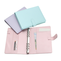 Kicute Candy Color A5 Leather Loose Leaf Refill Notebook Spiral Binder Planner Replacement Cover 6 Hole Loose Leaf Notepad Shell