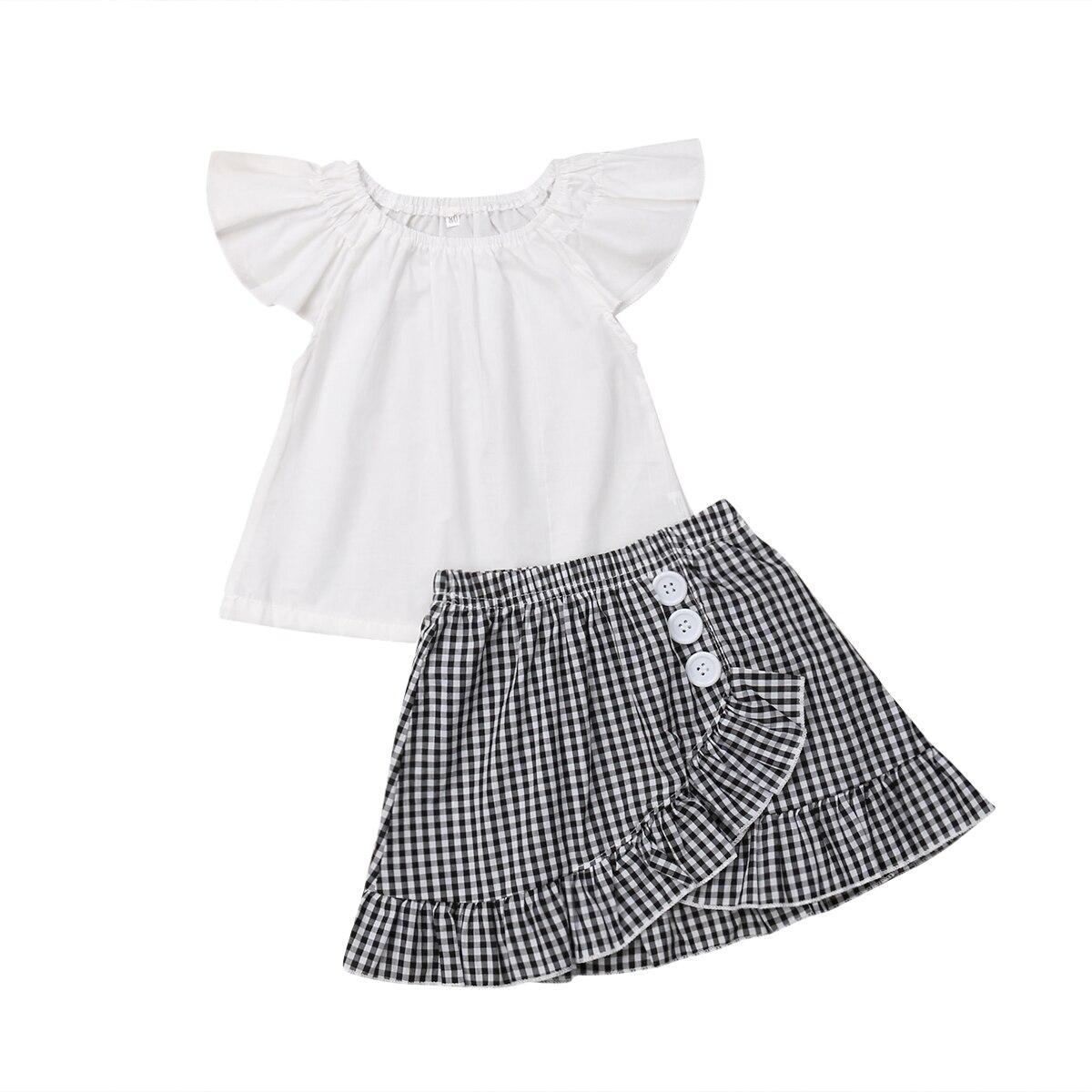 2019 Girls Ruffles Long Sleeve Lace Plaid White T-shirt Tops Wide Leg Pant Trouser 2pcs Outfits Kids Clothing Set1-6t Hot Clothing Sets