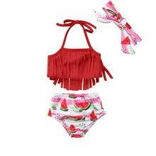 0ee540551d 3 pièces ensemble maillot de bain enfant en bas âge bébé fille pastèque  impression pantalon maillots de bain Long gland cravate .