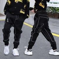 Children Jeans for Boy 12 Years Black Cool Dance Hiphop Pants joggers Sweatpants Baby Boy Harem Pants Street Trouser Denim pants