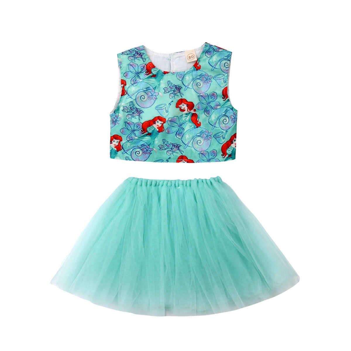 Жилет русалки новые детские для маленьких девочек 2019 Топы пачка фатиновая юбка 2 шт. наряды летнее платье комплект одежды