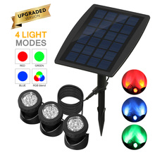 IP68 светодиодный водонепроницаемый подводный светильник для бассейна, Солнечная садовая лампа, 3 шт., лампа на голову, солнечный Точечный светильник RGB, погружной светодиодный светильник s