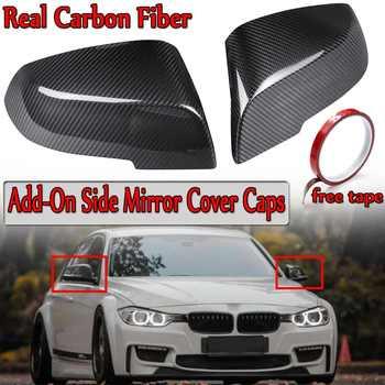חדש 2x נדל סיבי פחמן רכב להוסיף-על צד מראה כיסוי Caps עבור BMW 3-Series f30 F31 F35 4-סדרת F32 F33 F36 2018