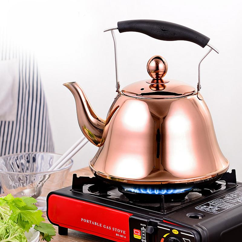 High Quality Fashion Rose Gold And Silver Color Tea Pot Tea Kettle 304 Stainless Steel Water Kettle Water Stove Whistling Pot 2L