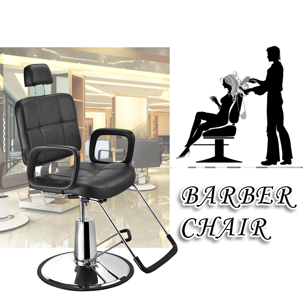 Panana Salon Haircut Chair Barber Chair Hydraulic Lifting Chair Heavy Duty Steel & PU Leather Reclining Backrest