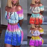 Vestido ceñido Sexy de dos piezas para mujer, Top corto con abertura y cintura alta, estampado colorido a la moda, atuendo para discoteca, 2018