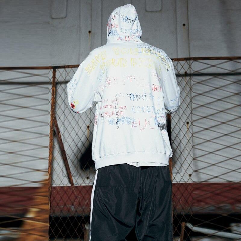 Hip Hop lettre imprimer sweat à capuche pour homme femmes lâche Sweatshirts 2019 pull à capuche d'automne noir blanc à capuche Streetwear hommes vêtements J2060 - 6