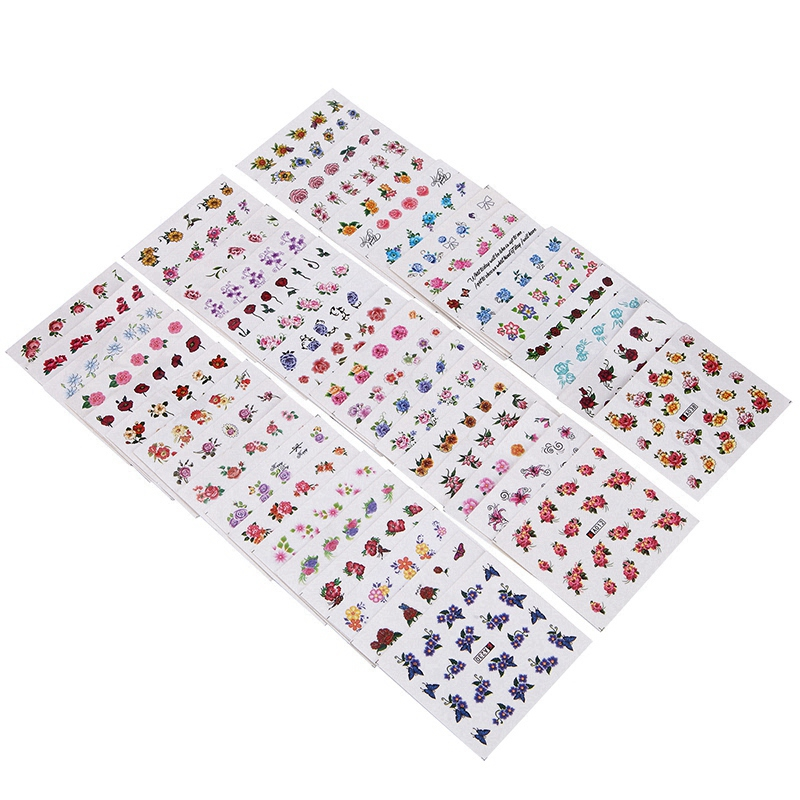 1 set of mixed design nail sticker color gold silver glitter flower water applique decoration manicure