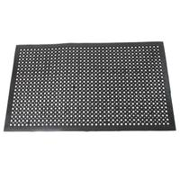 1 Pcs Black Floor Mat Durable Bar Kitchen Industrial Multi functional Anti fatigue Drainage Rubber Non slip Hexagonal Mat