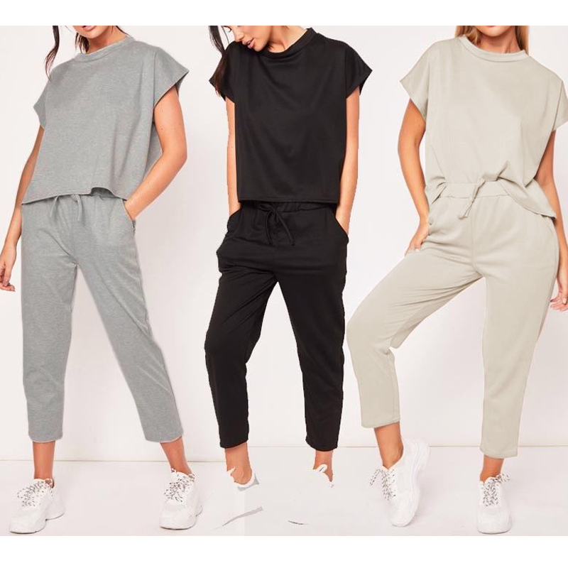 Women Summer Tracksuits Short Sleeve Tops And Long Pants 2 Piece Set Woman Sport Pants Suits Set Lady Fashion Woman Tracksuit