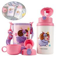 White Sheep Cartoon Pattern Thermos Cup Vacuum Cup Snug Flask For Kids Nozzle Straw Creative Stainless Steel Cup