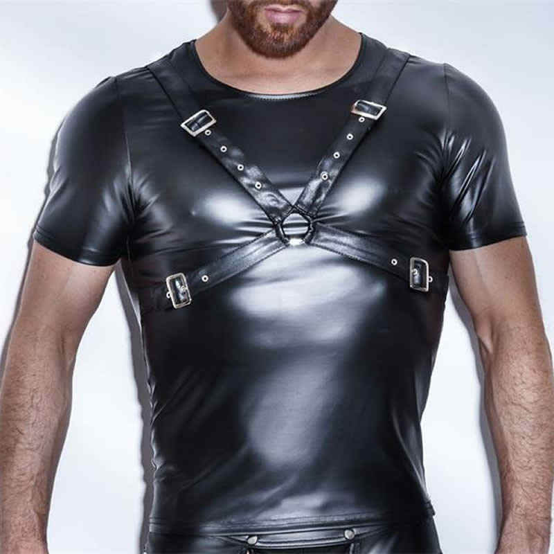 Aiiou Seksi Erotis Mens T Shirt Paten Faux Kulit Kaus Dalam Black Tees Kemeja Ketat Gay Lucu Kebugaran Dansa Pakaian Kaus Dalam