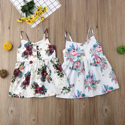 Платье для девочек Pudcoco, Модное детское платье без рукавов с цветочным рисунком для маленьких девочек, сарафан, летняя одежда