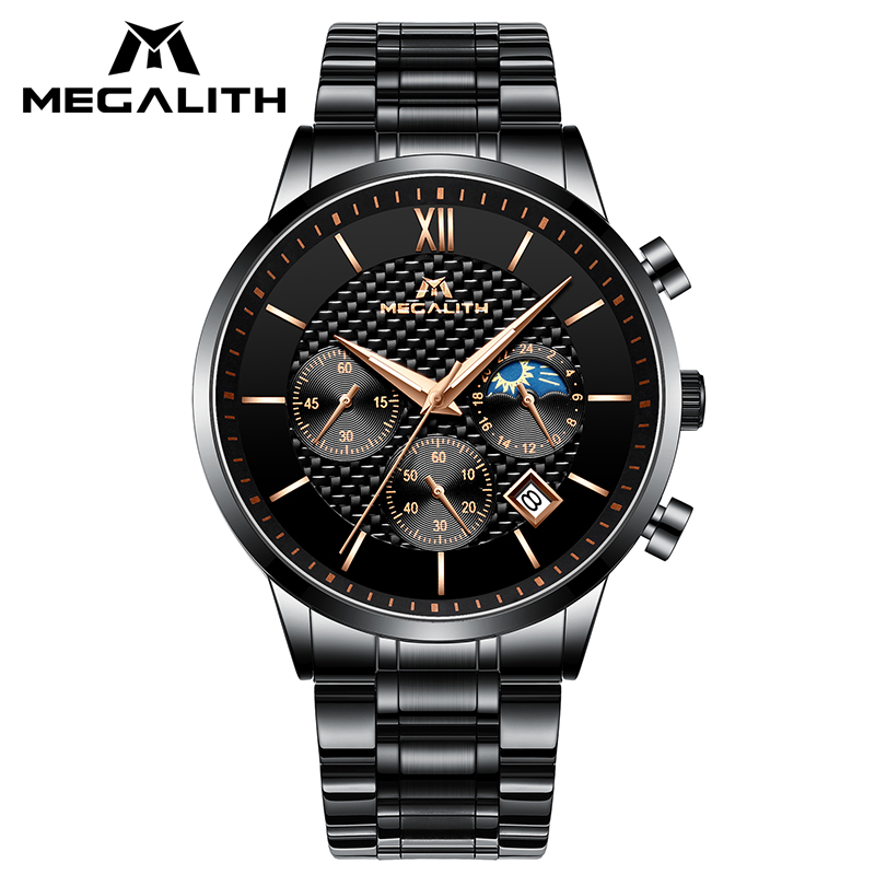 2019 MEGALITH Luxury Waterproof Date Analogue Mens Watches For Men Black Stainless Steel Strap Casual Quartz Wristwatches Clock2019 MEGALITH Luxury Waterproof Date Analogue Mens Watches For Men Black Stainless Steel Strap Casual Quartz Wristwatches Clock