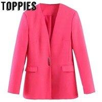 Women Rose Pink Blazer Jackets Ladies Small Suit Leisure Collarless Blazer Slim Jacket Women Clothes 2019