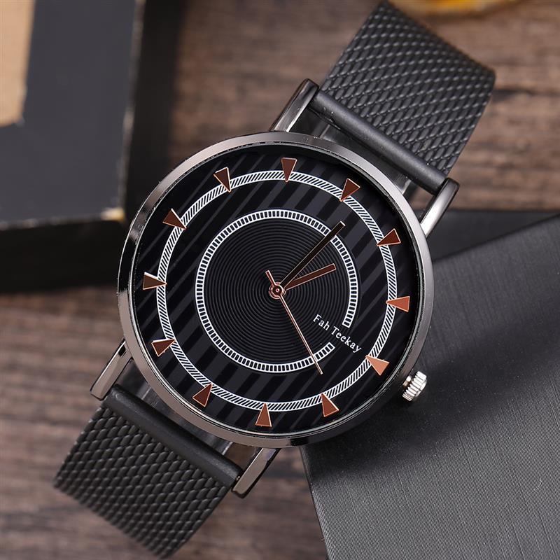 2019 Fashion Luxury Watch Men's Large Dial Mesh Band Stainless Steel Analog Quartz Wristwatch Male Unisex Black Watches Relogio
