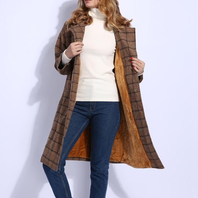 check out bc094 4cc33 2018 Winter Frauen Wolle Mäntel Plaid Lange Lose Woolen Mantel Damen Warme  Outwear Dicken Faux Pelz Futter grau