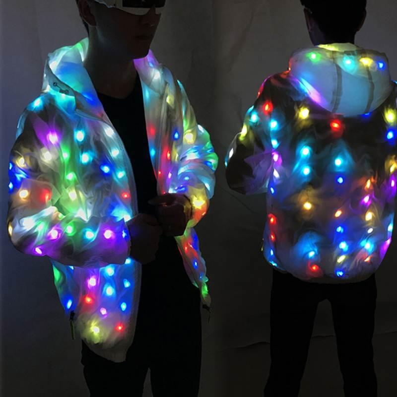 Imperméable à l'eau coloré LED Tron danse porter lumineux Halloween Costume vêtements LED croissant éclairage Robot costumes événement fête fournitures