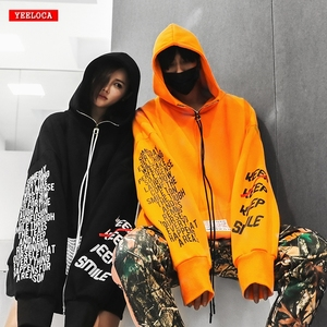 Image 1 - Automne 2018 nouveau Zipper lettre impression Hoodis pour hommes et femmes surdimensionné coton lâche mode pull Sweatshirts porter Couple