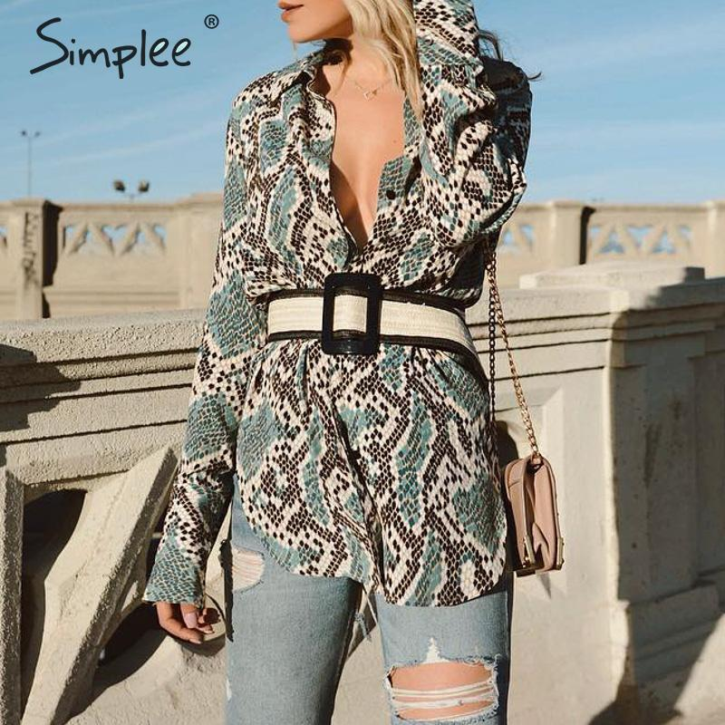 Simplee Vintage green snake print women long   blouse     shirt   Animal turndown collar   blouses   and tops Casual ladies fashion tops
