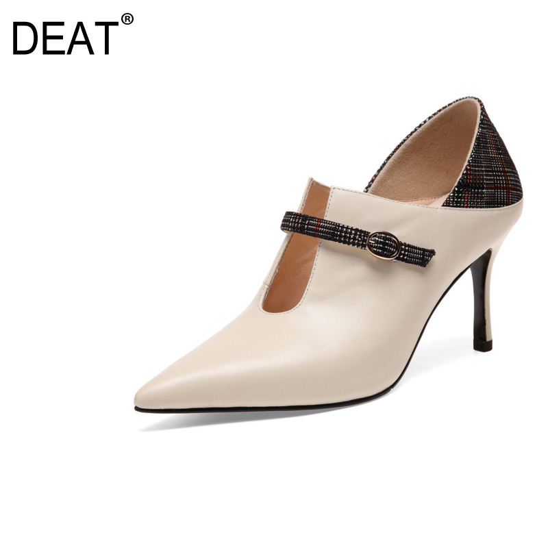 DEAT 2019 New Spring Summer Sharp Toe Pu Leather Buckle Strap Mixed Colors Single High