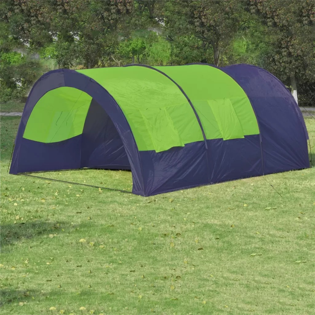 VidaXL 1-6 People Camping Tent Blue Green Accommodate Outdoor Waterproof Camping Hiking Tent Waterproof Large Family Tent