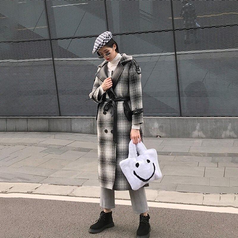 gray Twotwinstyle Cuir Pu Coréen Laine 2018 Mode Femme Femmes Dentelle Longues De Manteaux Manches En Hiver Plaid vent Blue Patchwork Up Coupe 4q1x4Fnr