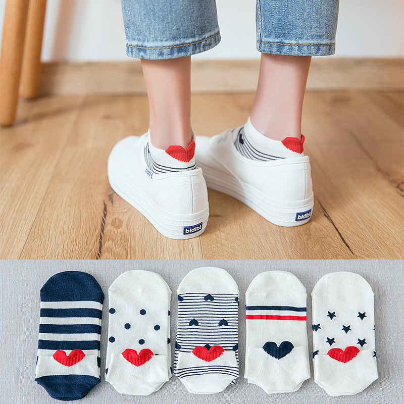 10 Pieces=5 Pairs Women Funny Spring Novelty Comfortable Cartoon Heart Animal Print Cat Lovely Full Cotton Boat   Socks   Dog Kawaii
