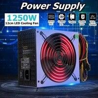 1250W Power Supply 120mm LED Fan 24 Pin PFC PCI SATA ATX AMD PFC 12V Computer Power Supply for PC Desktop Game