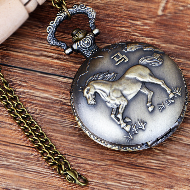 Pocket & Fob Watches Chinese Zodiac Animal  Horse Design  Quartz Pocket Watches Vintage Fob Watches  Gift for Men/Women