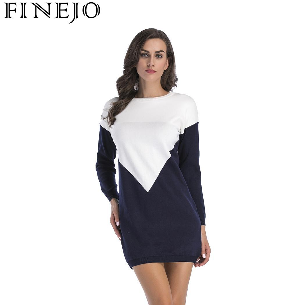 Patchwork Knee Neck Autumn Sleeve Geometric Sweater Women Casual Dress Winter Mini Round Long Fashion Above