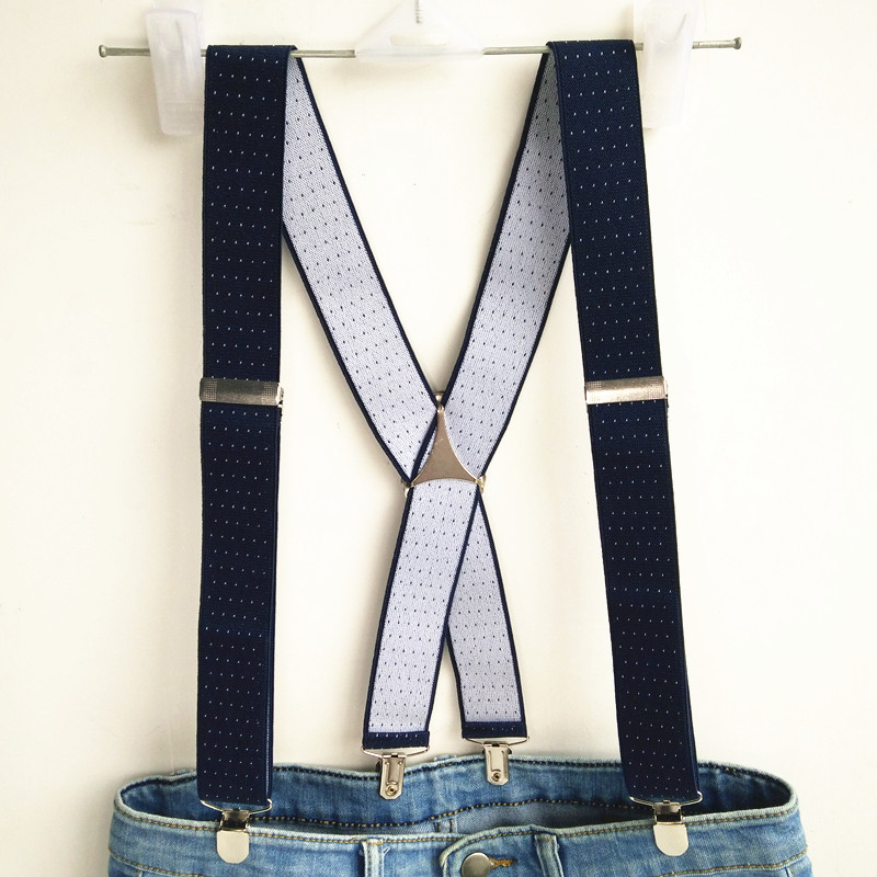 Navy Dot Jacquard Suspender Men Women Adult Suspensorio Adjustable Elastic Big Size X Back Clips On Print Brace BD059