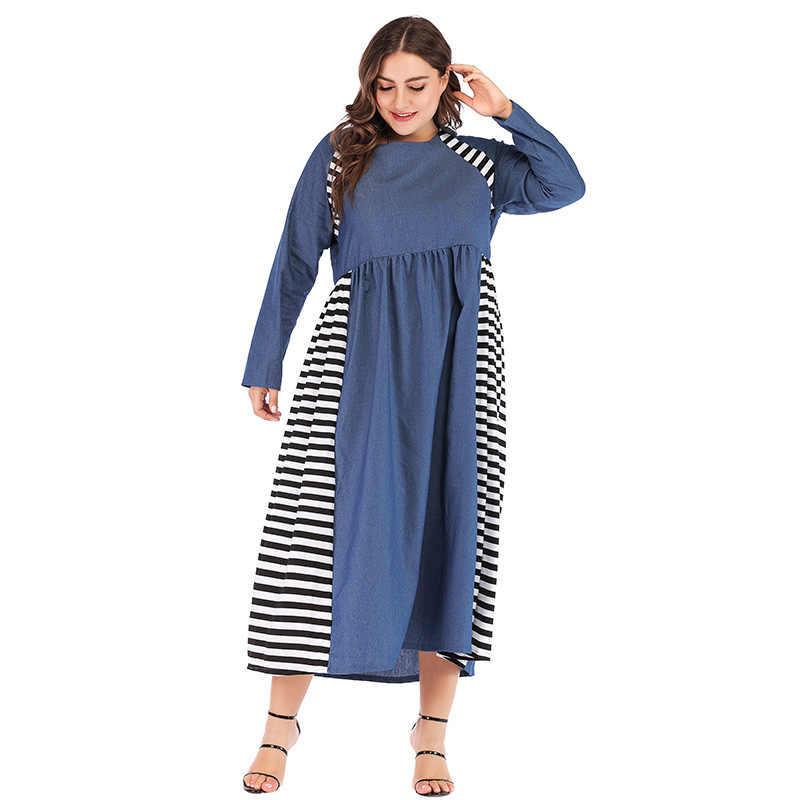 Новое Женское джинсовое длинное платье большого размера Полосатое вечернее платье с длинными кружевными рукавами тонкое свободное Макси платье винтажный Модный халат платья Vestidos