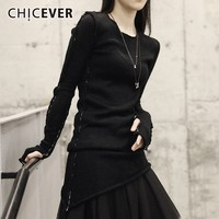 CHICEVER Knitted Sweaters For Women O Neck Long Sleeve Slim Black Irregular Hem Women's Sweater Fashion Casual Clothes New