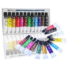 Набор масляных красок, 12 цветов, трубчатая акриловая художественная роспись, водостойкая масляная краска, ручка, костюм для холста, коврик, панель, бумага