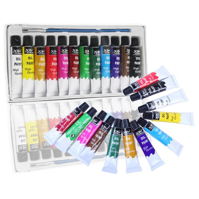 Oil Paint Set 12 Color Tubular Acrylic Art Painting Water Color Oil Paint Pen Suit For Canvas Mat Board Panel Paper