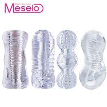 Meselo 4 Types Male Masturbator For Man Penis Trainer Erotic Adult Toys Silicone Soft Transparent Masturbator Sex Toys For Men