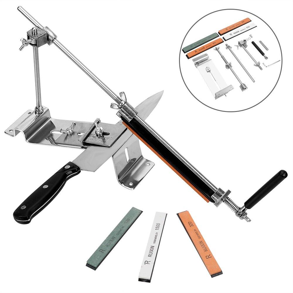 Affûteuse de couteau en acier tout fer avec 4 pierres Whetstone Fix-coudé outils de système d'affûtage professionnel de cuisine
