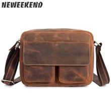 цена на Retro Style Men's Genuine Leather Crossbody Shoulder Handbag Cross Body Messenger Sling Bag Briefcase 8820
