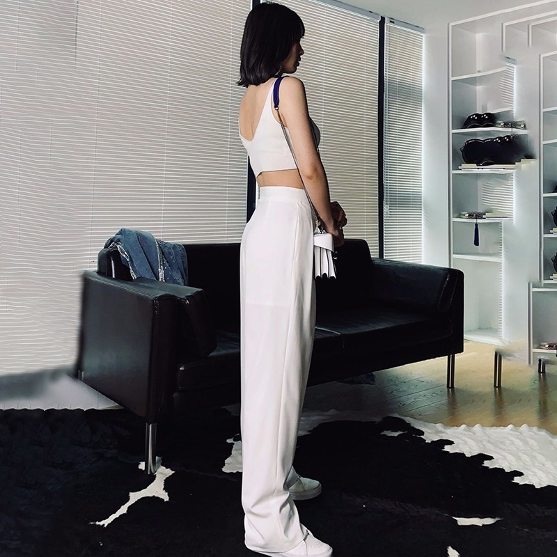 TWOTWINSTYLE Casual Solid Women Trousers High Waist Big Size White Wide Leg Pants Female Spring 2019 Fashion Clothing New
