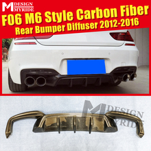 F06 Rear Diffuser Lip M6 Style Carbon fiber For BMW 4-Door 640i 640d 650i 650d Sport Bumper 12-16