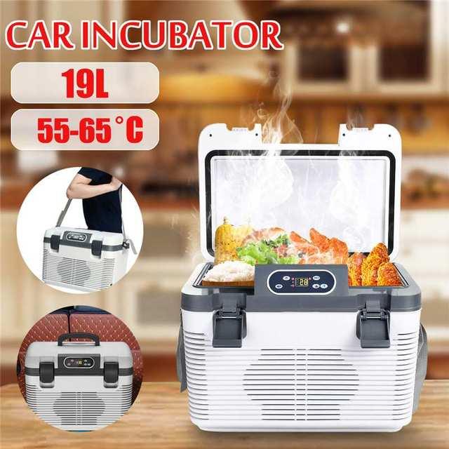 19L 68 W Двойная система холодильник автомобильный ледяной пакет автомобильный охладитель нагревательный ящик с пультом дистанционного упра...