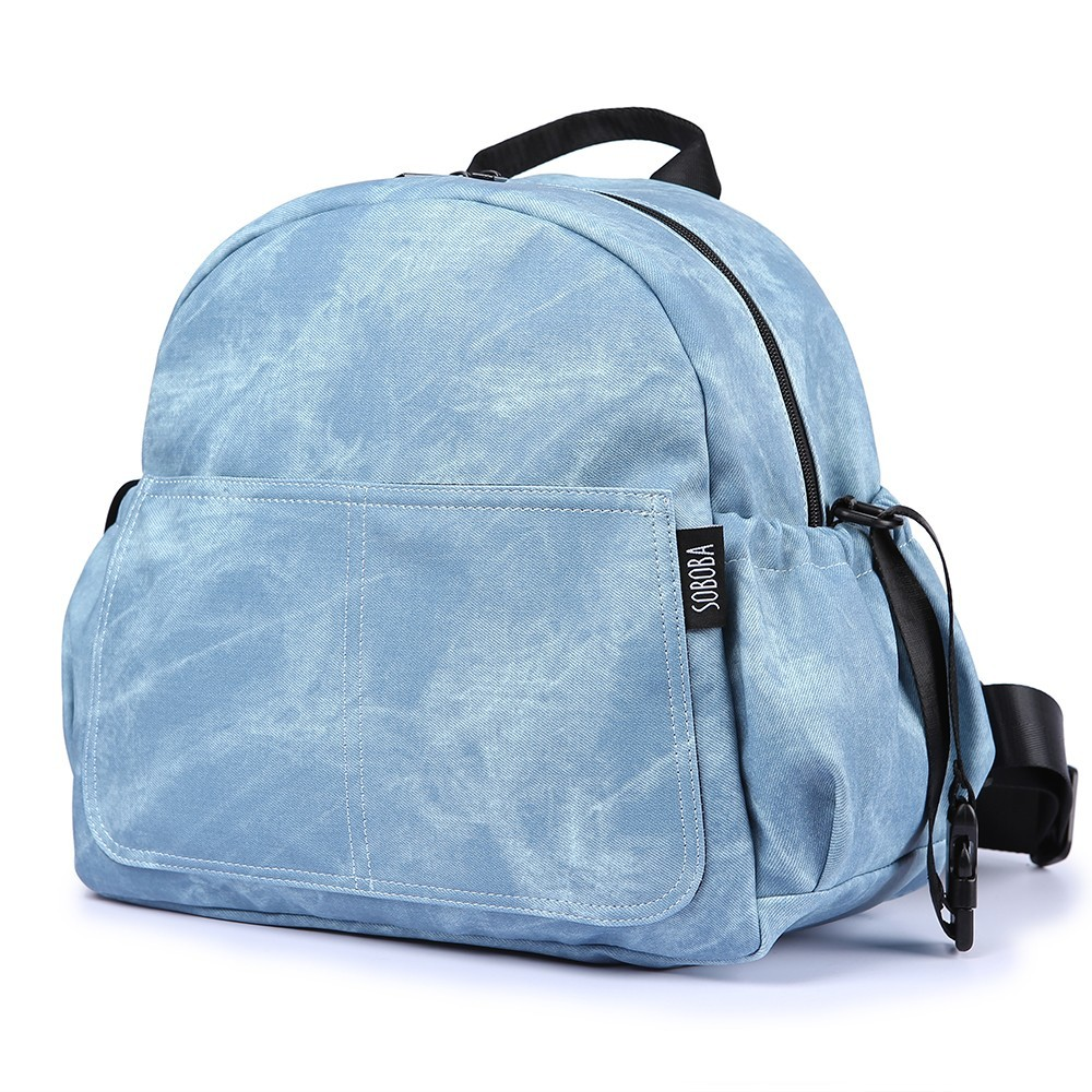 Fashion Large Capacity Baby Diaper Bag Stylish Stroller Backpack for Nappy Changing Blue Maternity Travel Baby