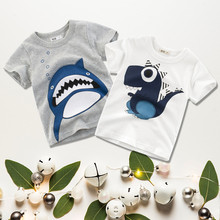 Boys T Shirt Summer Cartoon Shark Printed Short Sleeve O-Neck Cute T-Shirt For Kids Boys Tee Shirt Cotton Tops Clothing cotton boys t shirt excavator summer 2019 cartoon frog printed short sleeve t shirt for kids boys tee shirt dinosaur tops