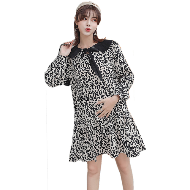 163018d78af Pengpious 2019 spring peter pan collar maternity fashion printing leopard  pleated dress pregnant women sweet chiffon mini dress