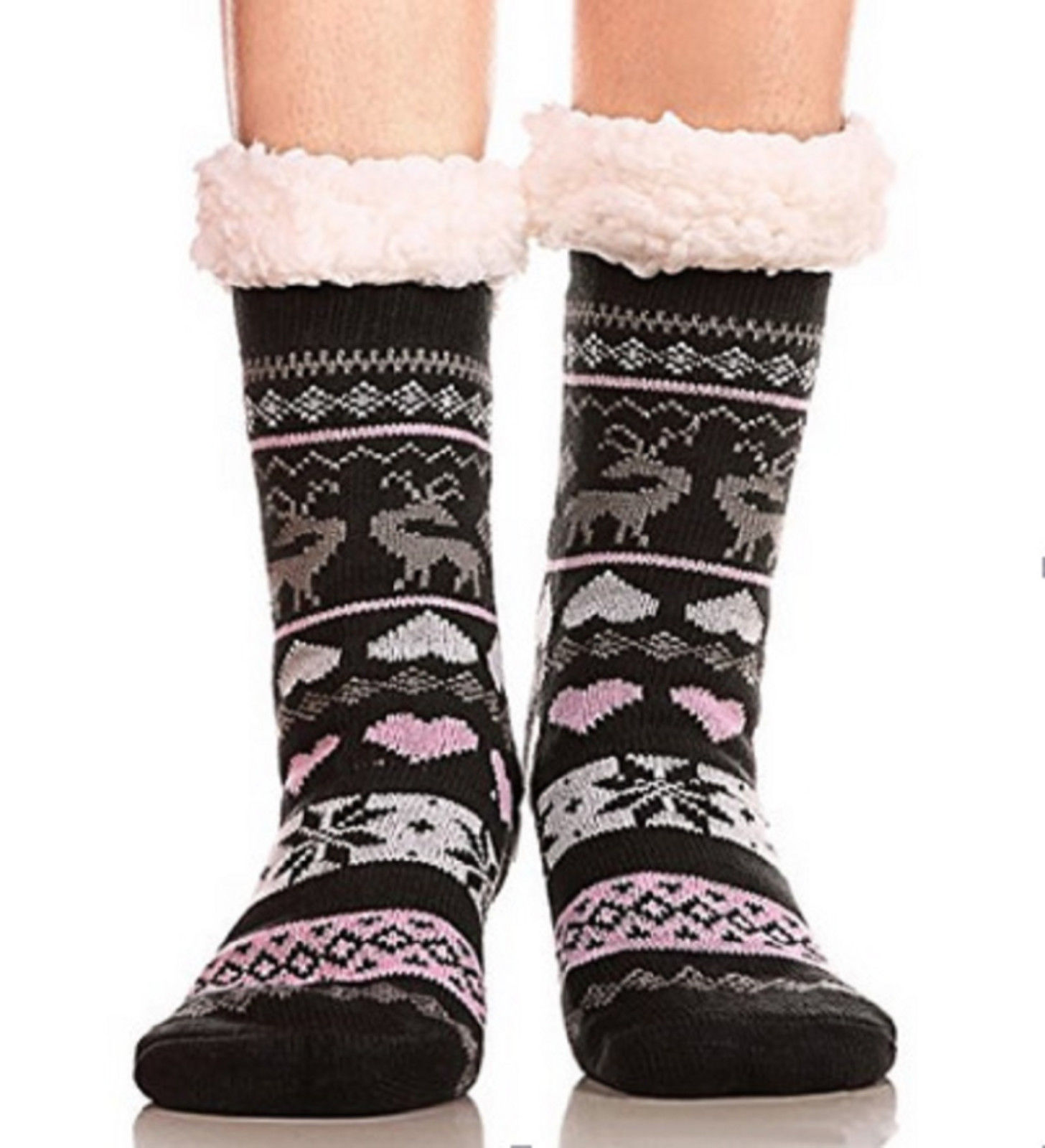 Fashion Women Warm Christmas   Socks   Winter Velvet Fleece Striped Printed   Socks   Female Fluffy Home Floor   Sock   Outdoor Ski Sokken